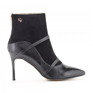 MED. HEEL ANKLE BOOT LEATHER/SUEDE CHEVALIER