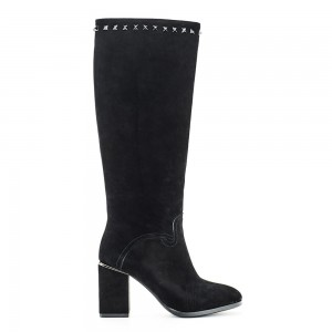 THICK HEEL KNEE BOOT SUEDE  V1969